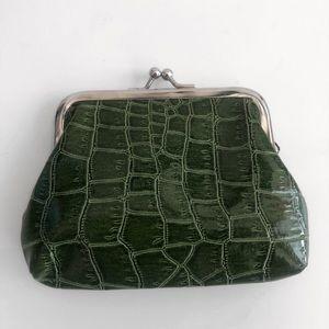 Handbags - Small Green Crocodile Alligator Print Coin Purse